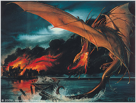 Image result for John Howe Smaug Destroys Lake Town