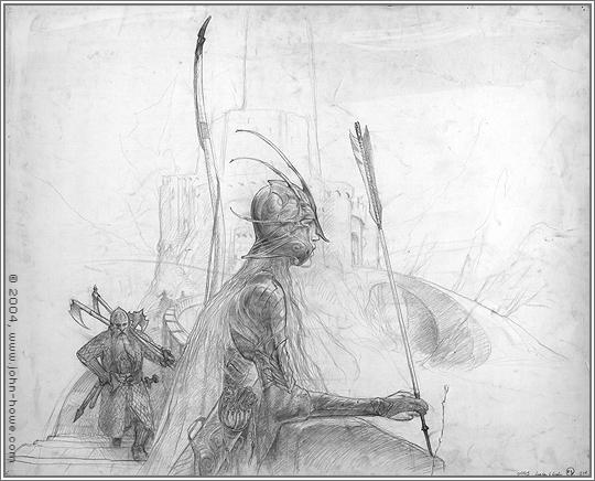 John Howe Drawings Legolas Gimli at Helm's Deep